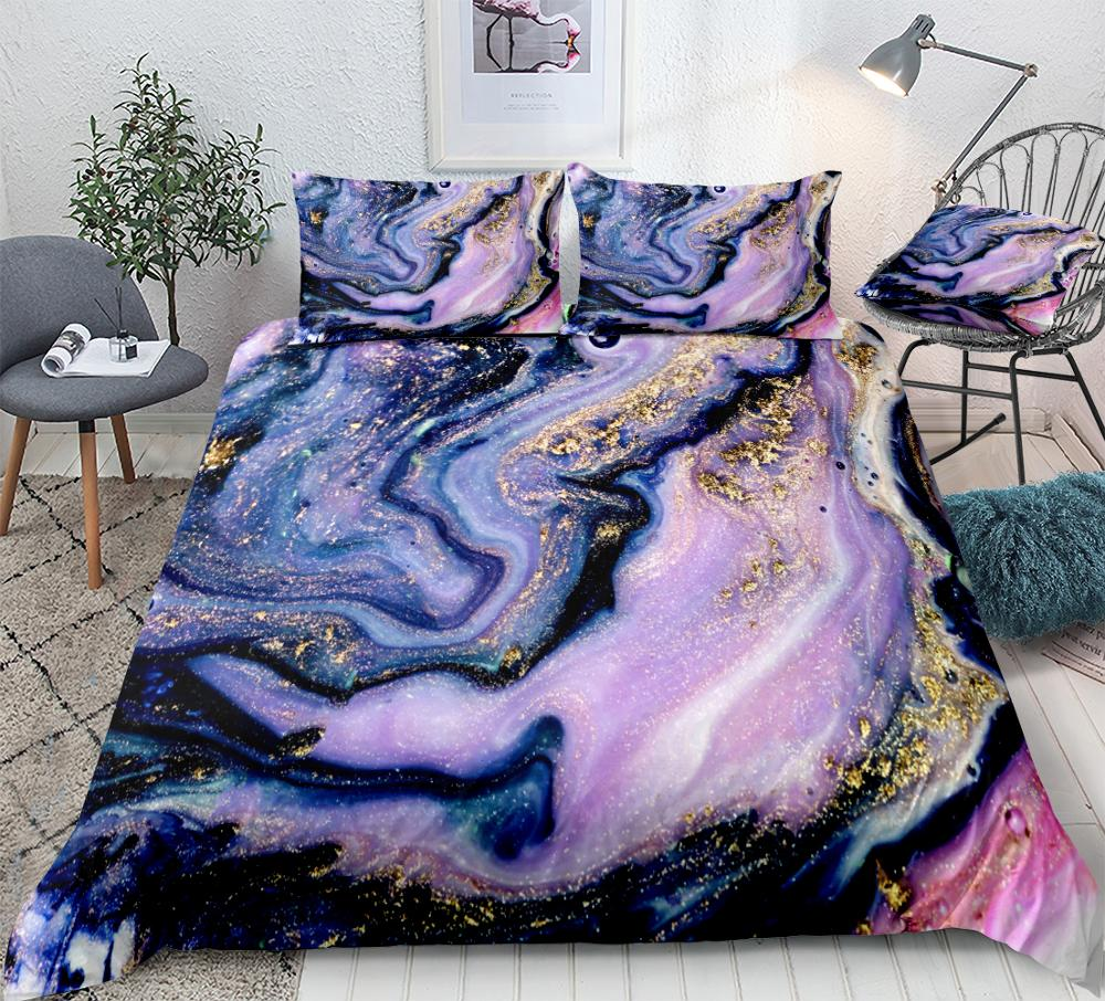 Colorful Marble Duvet Cover Full Girls Pastel Pink Gold Bedding Set Marble Abstract Art Design Women Comforter Cover 3 Piece Bright Girly Bedding Bedspreads Kids Marble Pattern Print Decor Bed Cover