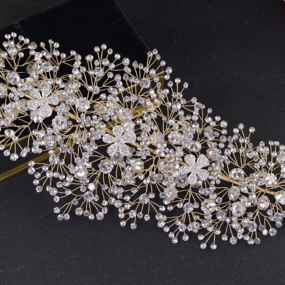 TRiXY H240-G wholesale Shinny wedding headpiece rhinestone wedding hair accessories bridal crown handmade bridal crown and tiara