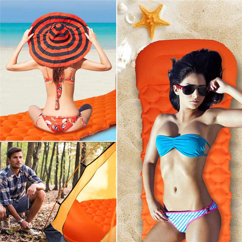 2019 Outdoor Camp Piknik Tikar Inflatable Sleeping Pad Pengisian Udara Pelembab Camp Tikar dengan Bantal Beach Towel Lazy Bed