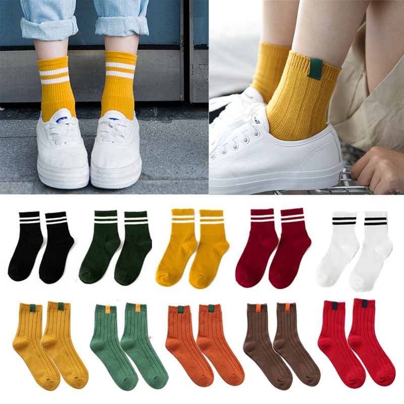 3Pair=6Pcs Casual Winter Socks For Women Soft Warm Cotton Socks Funny Cute Colorful High School Girls Striped Short Crew Socks