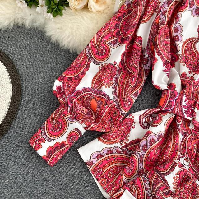 Fitaylor Spring New Women Retro Print Shirt Wide Leg Short Suit Lady Vintage Floral Lantern Sleeve Sashes Two Piece Sets 4
