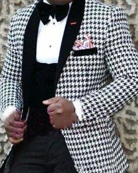 Chaquetas de Traje a cuadros para hombre Houndstooth, chaquetas de vestir para hombre, Blazer ajustado, esmoquin personalizado para novio, trajes de baile de graduación, Blazer Only