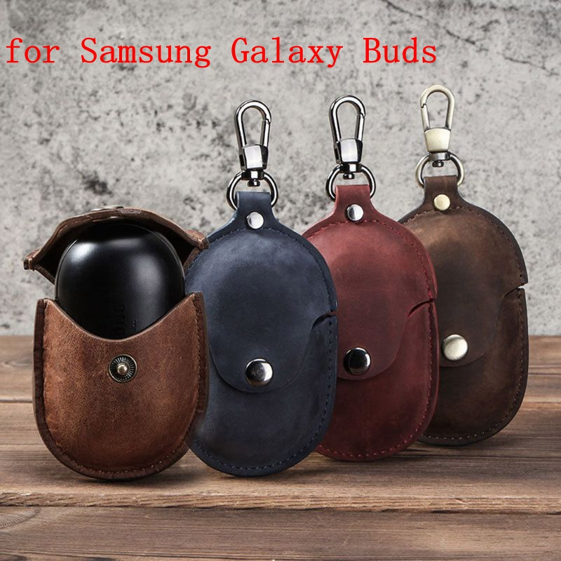 New Luxury Leather Protective Case Cover With Keychain For Samsung Galaxy Buds Earphone Charging Box