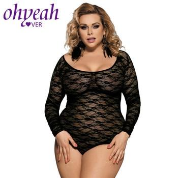 Ohyeahlover Long Sleeve 5XL Autumn Bodysuit Sheer Transparent Mesh Women Clubwear O-neck Floral Sexy Teddy Lingerie RL80382