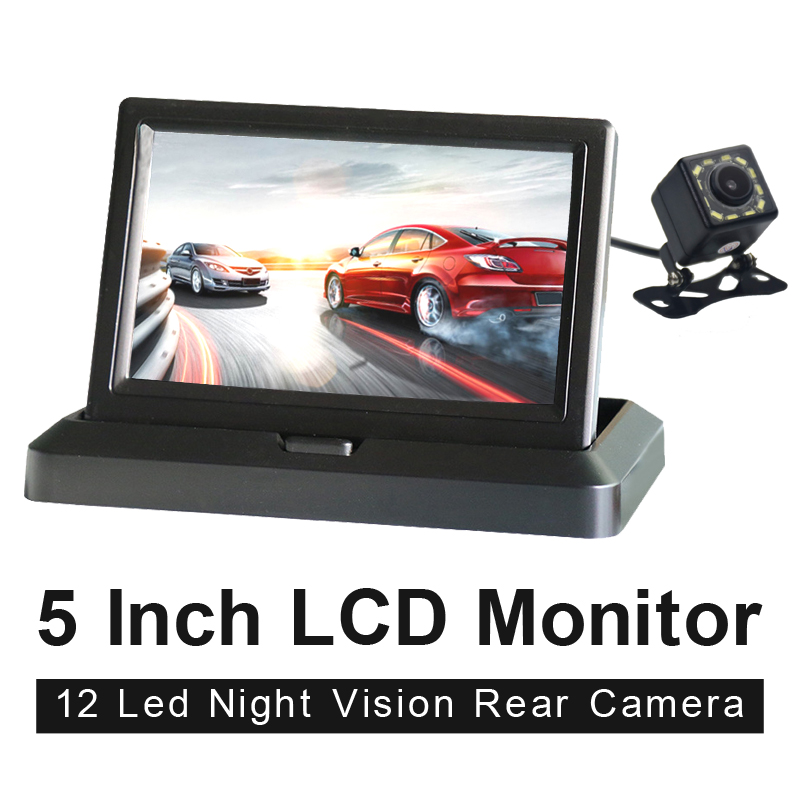 HD 5 Inch 800 480 TFT LCD Foldable Car Monitor Reverse Parking And 12 LED Rear View Camera