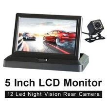 HD 5 inç 800*480 TFT LCD katlanabilir araba monitörü ters park ve 12 LED dikiz kamera