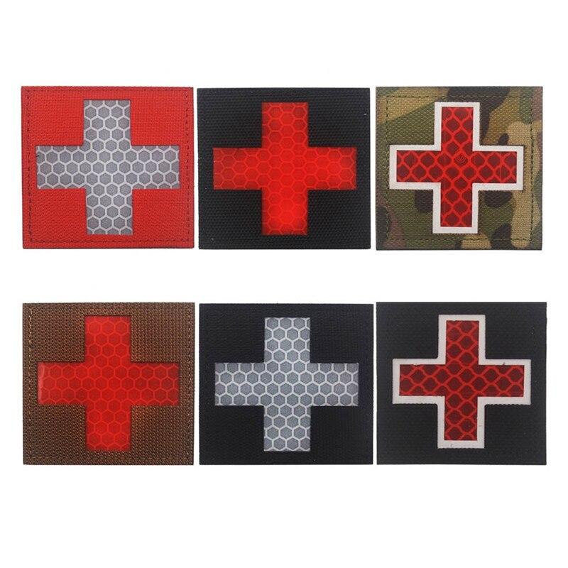 Светоотражающий медник многоцветной крест медицинский спасательный IR Chapter армейский значок тактический боевой патчи
