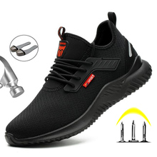 Yadibeiba Men's Steel Toe Work Safety Shoes Casual Breathable Work Boots With St