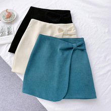 Wasteheart Autumn Winter Blue Women Skirts High Waist A-Line Mini All-match Clothing Casual Corduroy