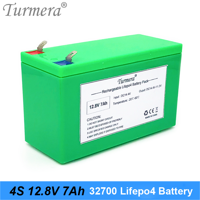 Turmera 12.8V 7Ah <font><b>32700</b></font> 4S1P Lifepo4 <font><b>Battery</b></font> <font><b>Pack</b></font> with 4S 40A BMS Balanced for Electric Boat and Uninterrupted Power Supply 12V image