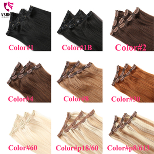 Image 5 - VSR 3pcs Clips Extensions 60g 100g 120g Machine Remy 100% Pure Human Hair Easy Do Clip Hair Extension