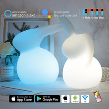 Wifi Smart Rabbit Night Light MP APP Control 10-Color LED Table Lamp Alexa Google Home Voice Control Bedroom Light Kids Gift