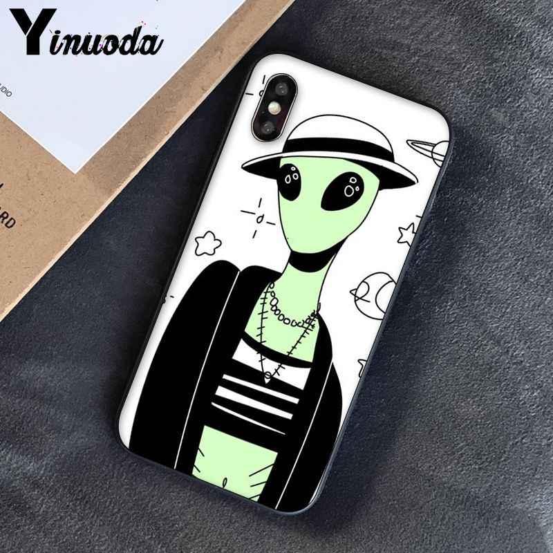 Yinuoda สุนทรียศาสตร์น่ารักการ์ตูน alien space อุปกรณ์เสริมโทรศัพท์สวยสำหรับ iphone ของ Apple iphone 8 7 6 6S Plus X XS MAX 5 5S SE XR