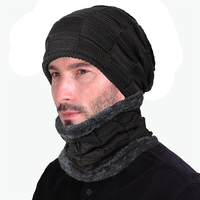 Autumn and winter new wool cap men and women square lattice velvet knitted cap fold cap thicker to keep warm 6