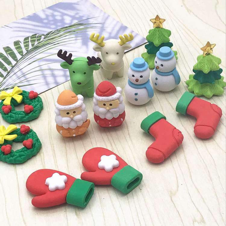 New Style Santa Claus Christmas Tree Snowman Handkerchief Shape Rubber Eraser Individual Package Small Rubber Children Ceremony