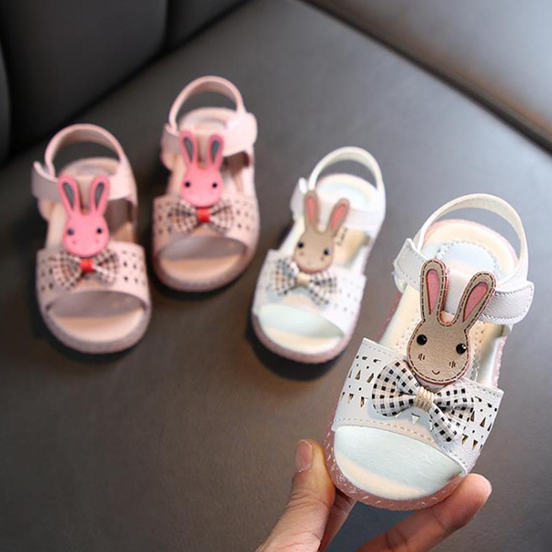 Kids Sandals Girls Open Toe Cartoon Bunny Princess Shoes Children's Non-slip Baby Toddler Shoes Fashionable