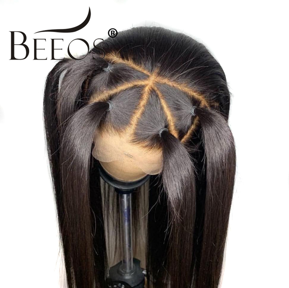 Beeos 360 Lace Frontal Wigs Pre Plucked With Baby Hair Brazilian Remy Straight Human Hair Lace Front Long Wigs Women Bleach Knot