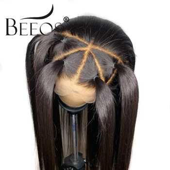 Beeos 360 Lace Frontal Wigs Pre Plucked With Baby Hair Brazilian Remy Straight Human Hair Lace Front long Wigs Women Bleach Knot - DISCOUNT ITEM  49% OFF All Category