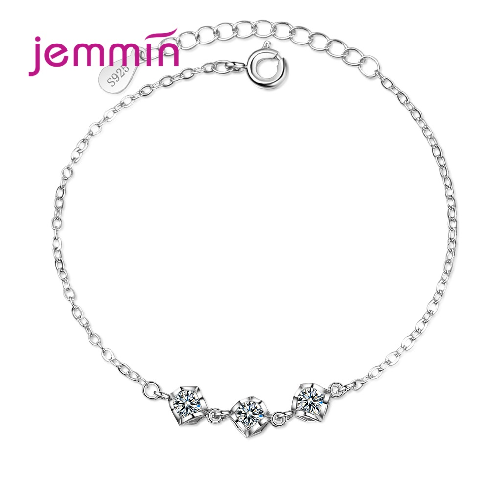 Woman/Lady/Girls Fashion  Square Pendant Cubic Zirconia Bracelets & Bangles For Party/Anniversary Trendy Jewelry Hand Chain