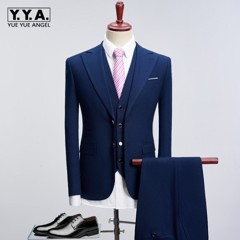 Dress Suit Men 2020 Slim Fit 3 Piece Groom Wedding Suits For Men Black Blue Mens Business Suits Latest Coat Pant Designs Costume