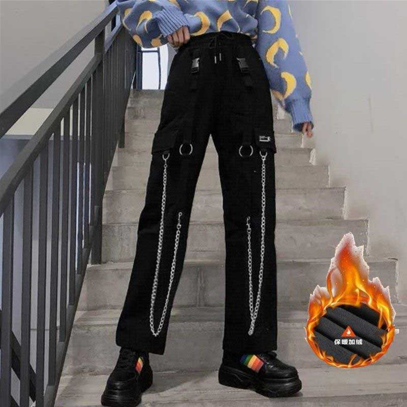 NiceMix  Vintage High Street Iron Chains Big Pockets High Waist Pants Casual Loose Elastic Waist Hip Hop Straight Pants Women Me