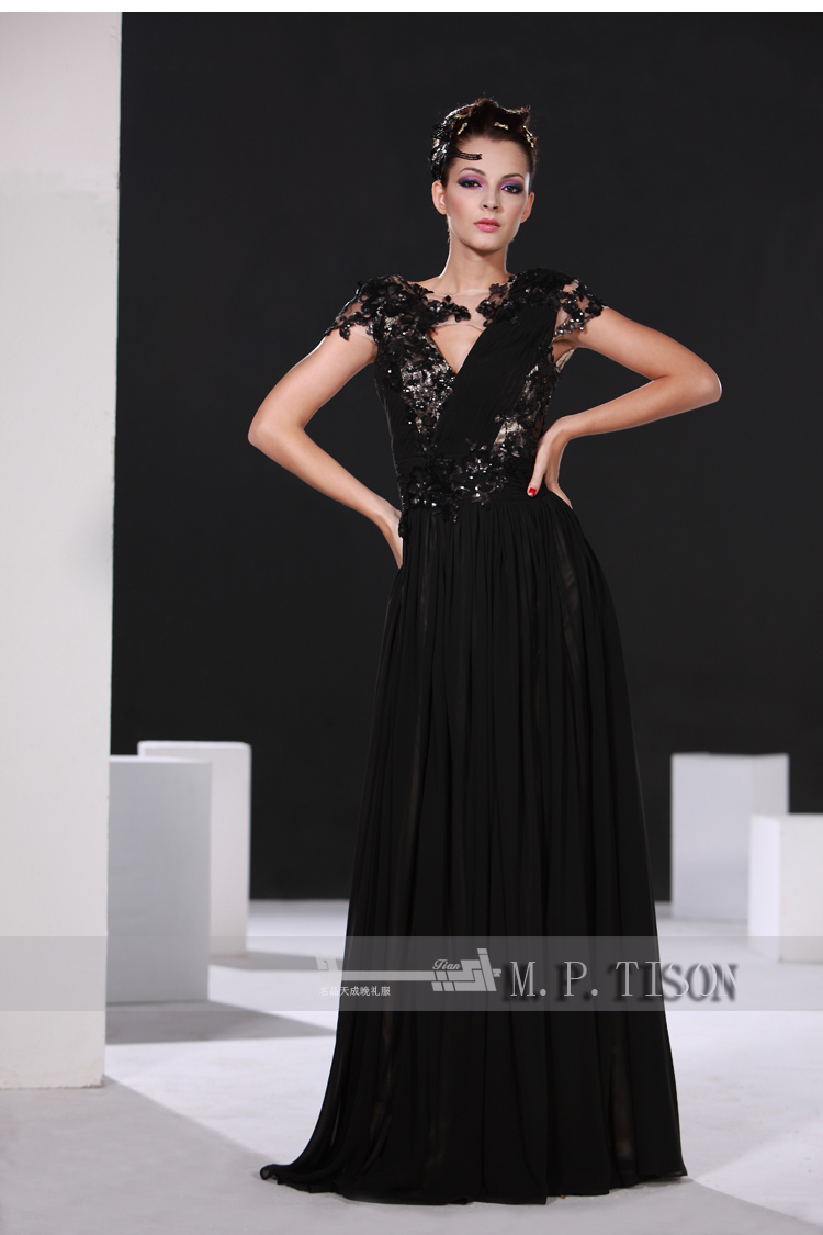 Party Prom Gown V-neck Vestido De Renda 2018 New Fashion Sexy Women Black Lace Cap Sleeve Long Evening Mother Of The Bride Dress