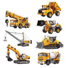 New Engineering Mechanical Crane Heavy Duty Truck City Series Building Blocks Construction Toy For Children Gifts 804pcs cogo city buiding construction series engineering assembe building blocks educational diy model toys best gifts for kid