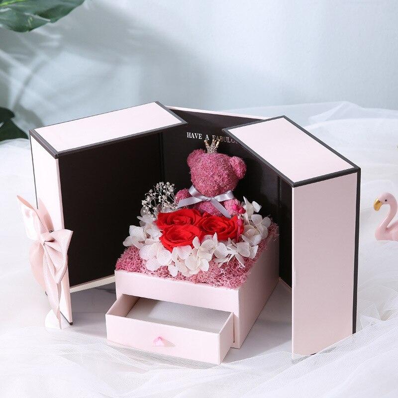 Новый подарок на день Святого Валентина плюшевый медведь Роза две двери Подарочная коробка подарок на день рождения для девушки жена мать Д