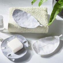 Caja de jabón portátil creativa de drenaje de hojas, jabonera portátil para viajes al aire libre, jabón de baño funda, soporte para suministros de baño