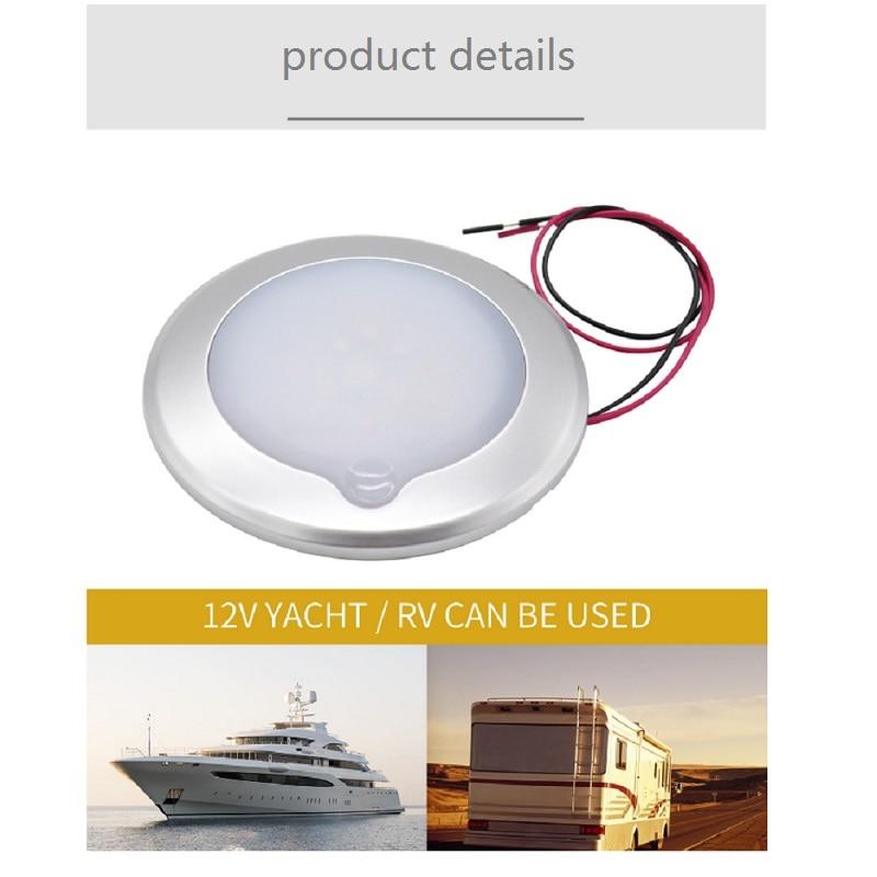 "8/"" LED RV Marine Yacht Vehicle Dome Roof Ceiling Interior Light Lamp 4000K"
