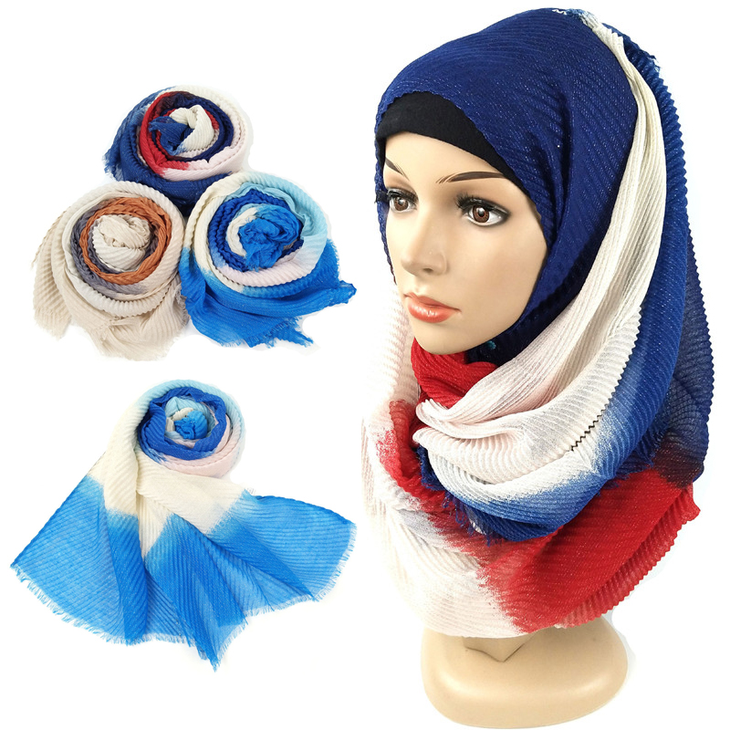 New Gradient Crinkle Hijab Scarf Cotton Muslim Turban For Women Arab Glitter Long Head Scarves Hijab Femme Musulman Kopftuch