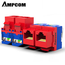 AMPCOM 10-Pack CAT6 RJ45 Tool-Less Keystone Jack, No Punch Down Tool Required UTP Module Connector Red
