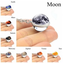 Galaxy Glass Ball Pendant Necklace Solar System Planets Art Picture Glass Cabochon Necklace Silver Chain Nebula Jewelry 2019 new dream nice nebula necklace various galaxy space pattern glass alloy necklace pendant solar system popular jewelry