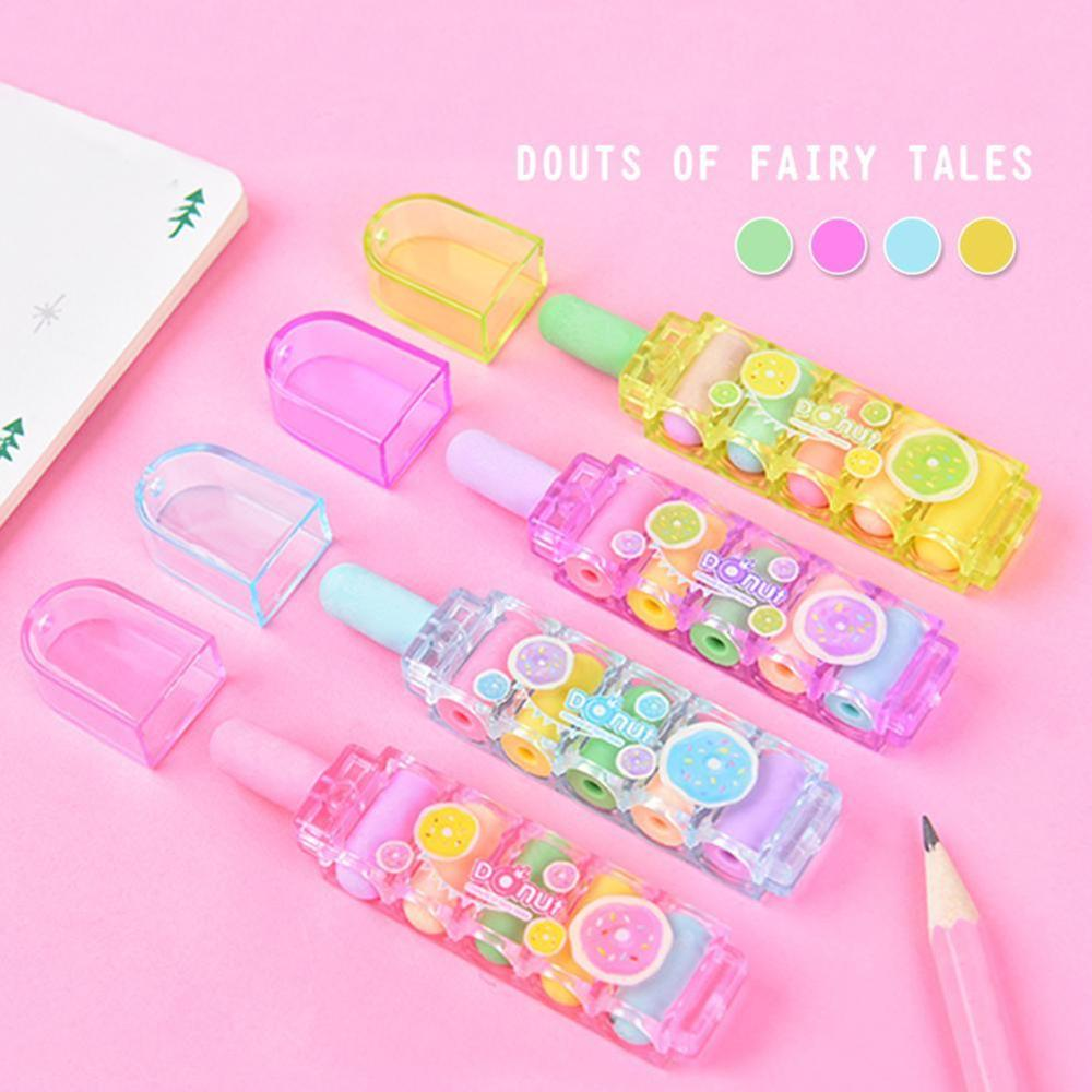 Cute Bullet Rubber Mini Erasers -for-kids Can Replace Type Children Art Drawing School Supplies Stationery 1set Random Color
