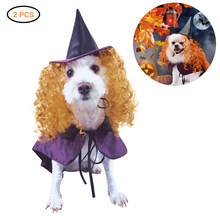 Funny Cute Cat Clothes Witch Costume Halloween Dog Toy Costume Set Include Hat Cloak Halloween Clothes Dressing Up Cat Party(China)