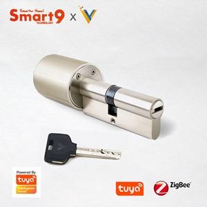 Image 3 - Smart9 ZigBee חכם מנעול Core צילינדר עבודה עם TuYa ZigBee רכזת, סוללה מופעל ושבב מוצפן מפתחות מופעל על ידי TuYa