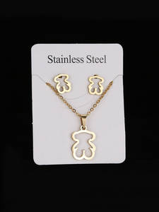 Necklace-Sets Earrings Pendant Snowflake-Shape Stainless-Steel Gold Silver-Color Heart