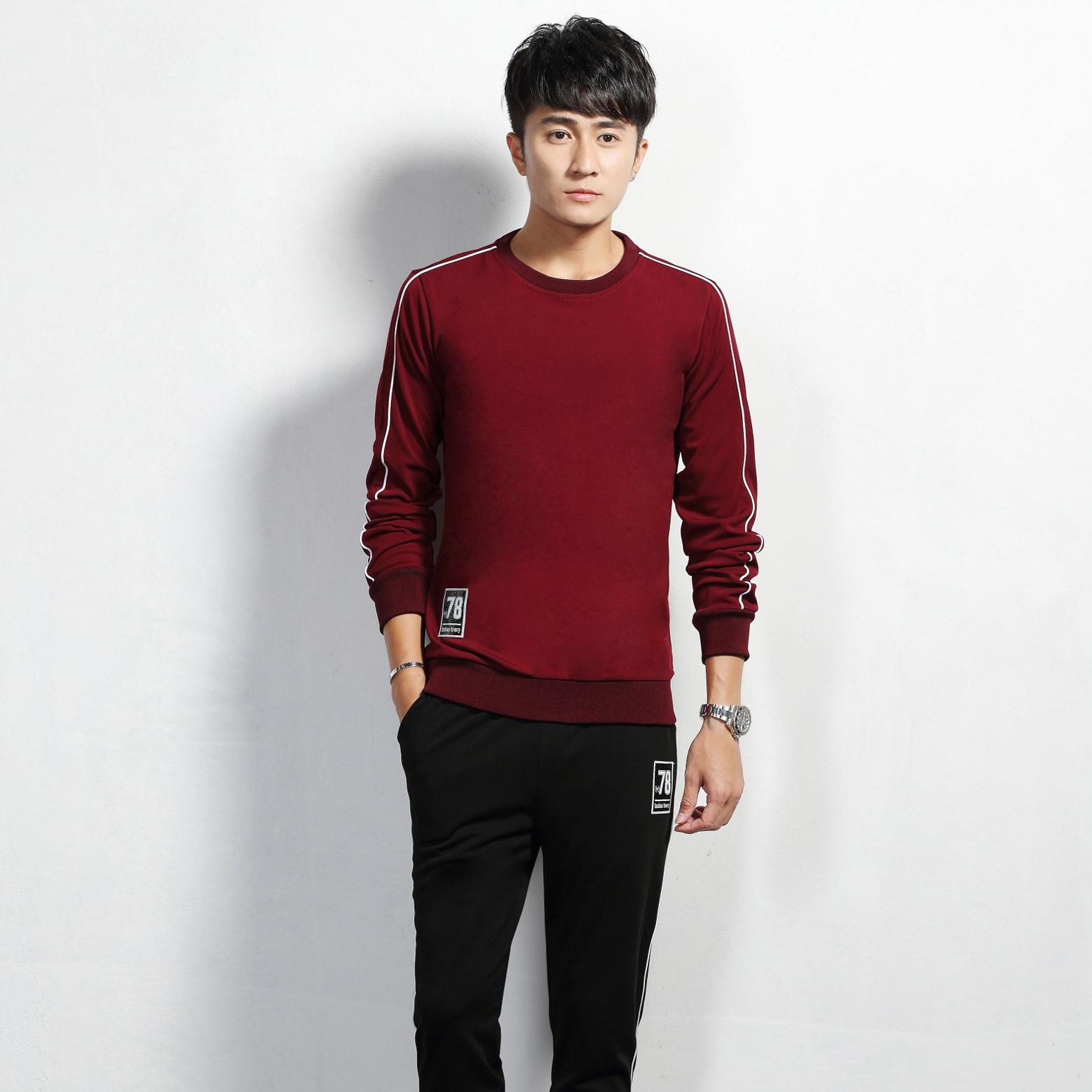 Two-Piece Set Long-sleeved T-shirt Men's Spring And Autumn Korean-style Trend Crew Neck Large Size Men Leisure Sports Suit Autum