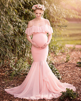 Falbala Maternity Dresses High Quality Long Maternity Dresses For Photo Shoot Off Shoulder Pregnant Dresses Maternity Clothes