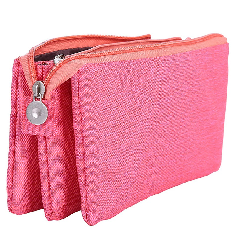 Super Capacity Pencil Case Three Compartment Pencil Holder Pencil Pouch Pen Bag Cosmetic Bag (Rosered)