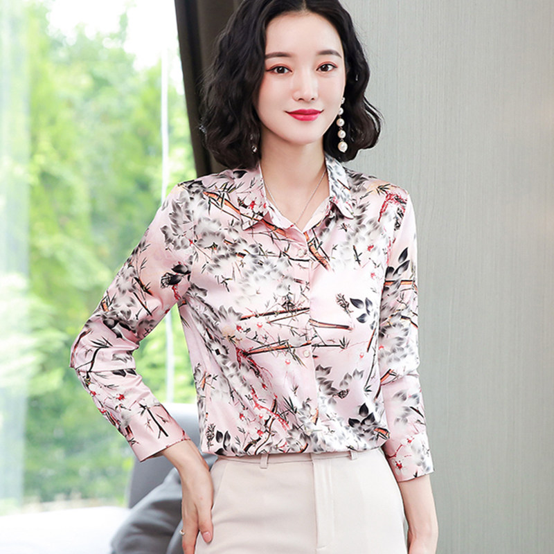 Korean Silk Shirts for Women Long Sleeve Shirts Women Satin Print Blouses Ladies Tops Plus Size Blusas Mujer De Moda 2020 Verano