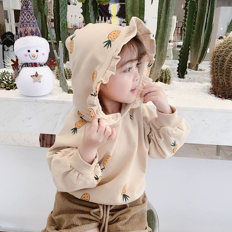2020 fall Girls Autumn Sweater Cute Hoded Clothes Korean top Sweatershirt Baby Out Wear  toddler hoodie  outfit 1