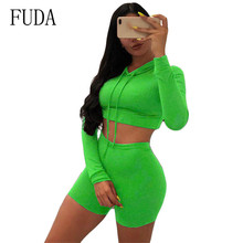 FUDA Casual Two Pieces Sets Long Sleeve O-neck Jumpsuits Women High Quality Streetwear Playsuits Femme Mono Mujer Plus Size XXL