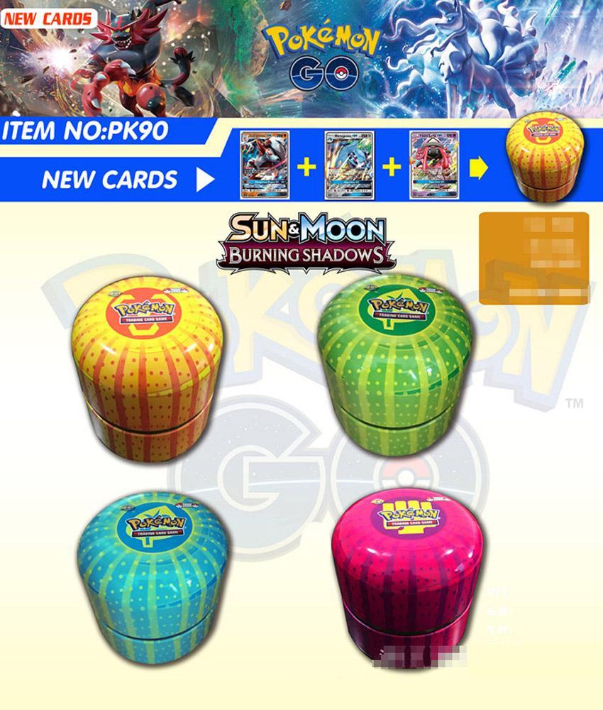 POKEMON Card English Pokemon Ptcg Round Tin Can 76 Cards Per Box Battle Collection Card Box Kids Toy Gift