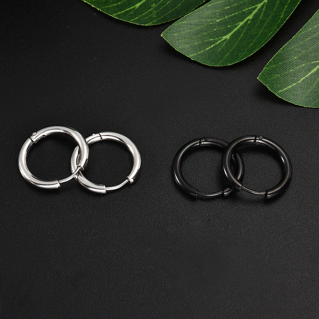 Gothic Stainless Steel Simple Round Stud Earrings 4