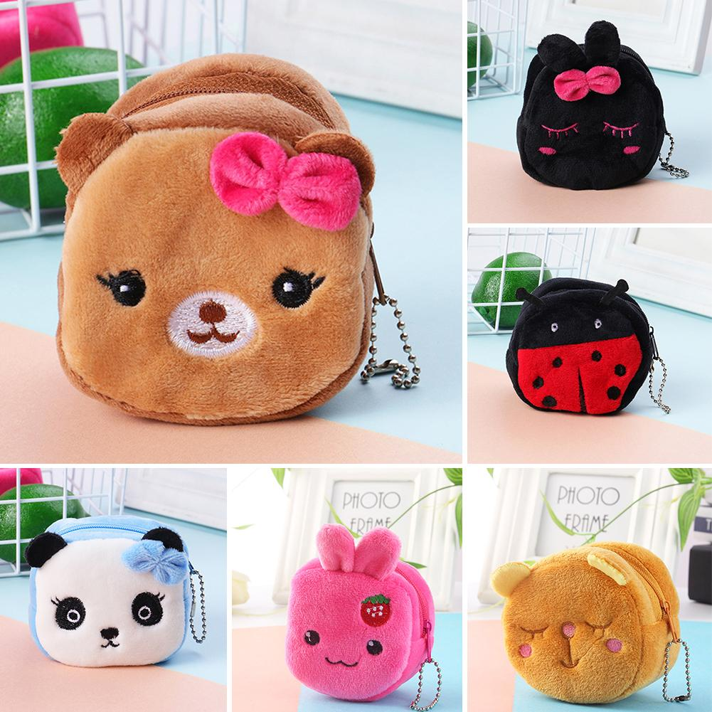 1Pcs Cute Cartoon Plush Panda Animal Small Coin Purse Zipper Money Wallet Kids Children Earphone Bag Key Case Birthday Gift