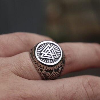 Anillo de acero inoxidable vikingo para hombres, Valknut estilo nórdico, Odín runas, anillos amuleto, joyería Nórdica