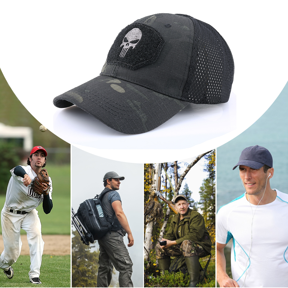 Skull Tactical Military Airsoft Cap Adjustable Breathable Sun Visor Trucker Hat Mesh Hunting Hiking Baseball Skeleton Snapback 24