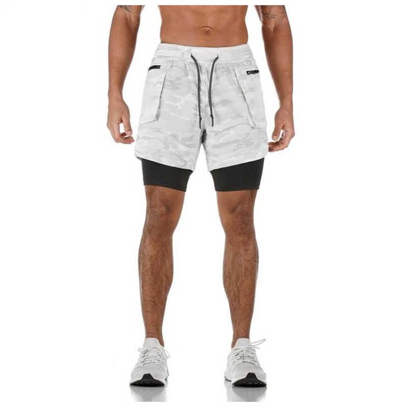 Joggers şort erkek 2 in 1 kısa pantolon spor salonları spor vücut geliştirme egzersiz hızlı kuru plaj şortu erkek yaz spor dipleri