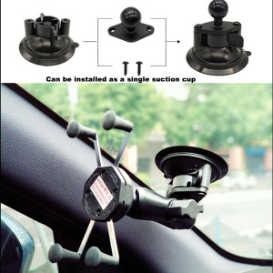 Image 2 - JINSERTA Car Window Double Twist Lock Suction Cup Base with Aluminum Diamond Base w/ 1 Rubber Ball for Gopro Camera Ram Mounts